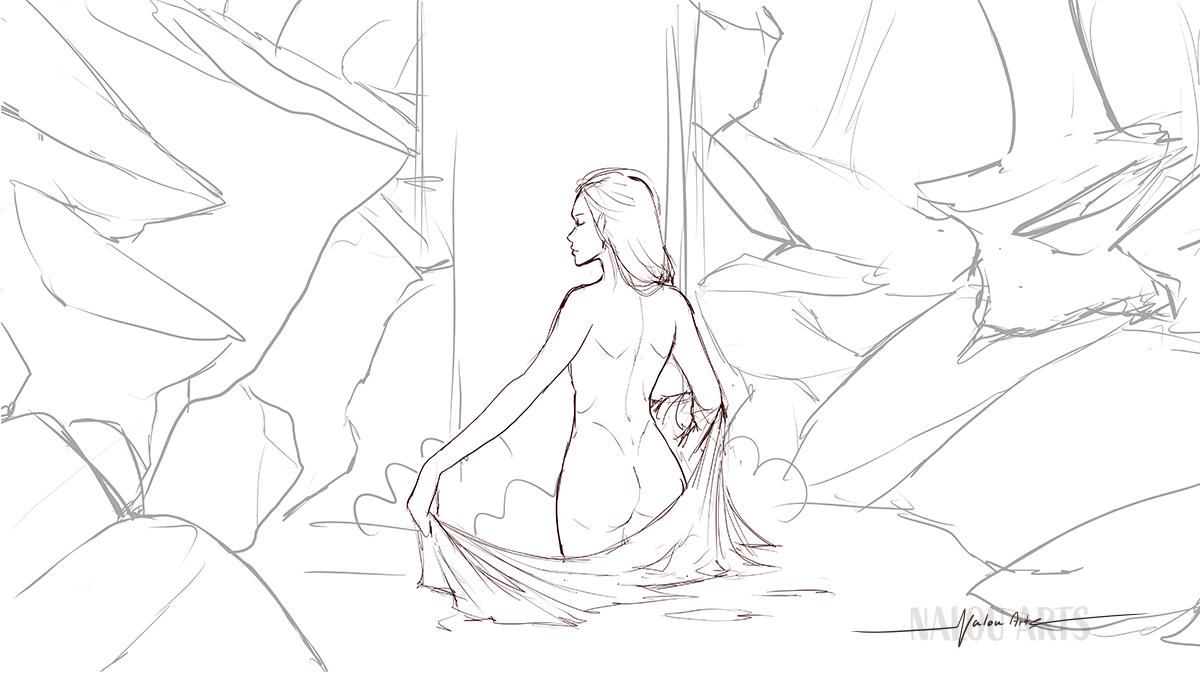 nalou_arts_commission_waterfall_sketch